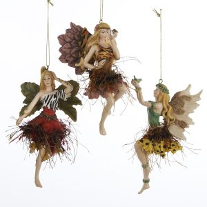 Pack of 12 Exotic Animal Print Jungle Fairy Christmas Ornaments